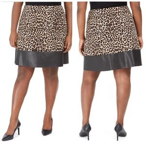 Michael Kors Cheetah & Faux Leather Skirt Size 0X